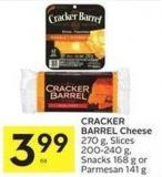 Cracker Barrel Cheese 270 g - Slices 200-240 g - Snacks 168 g or Parmesan 141 g