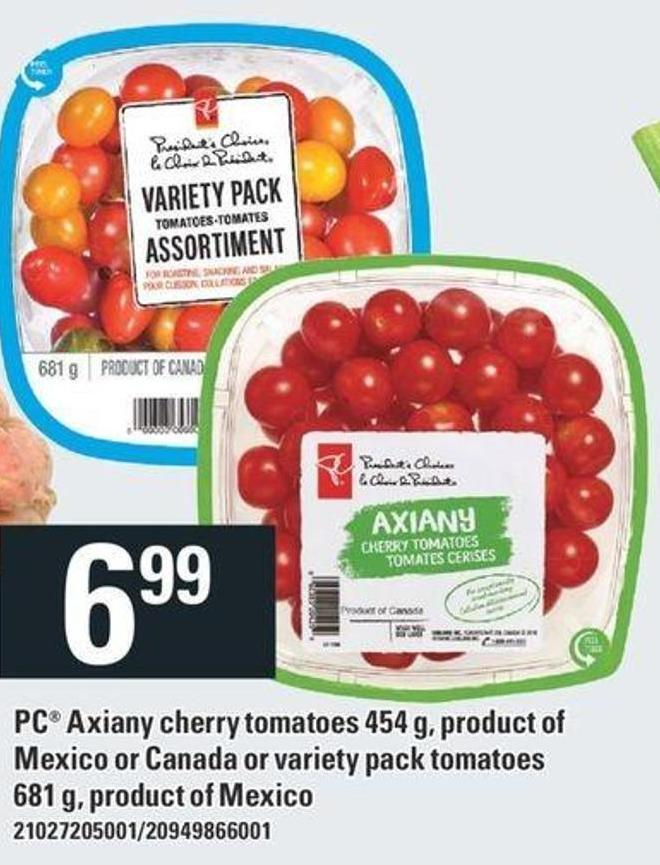 PC Axiany Cherry Tomatoes 454 g - Or Variety Pack Tomatoes 681 g