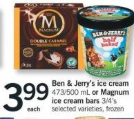 Ben & Jerry's Ice Cream - 473/500 Ml Or Magnum Ice Cream Bars - 3/4's
