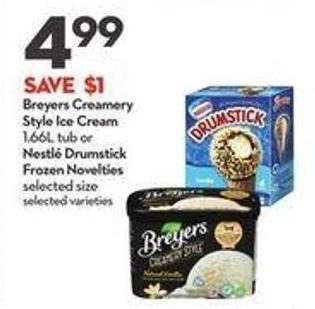 Breyers Creamery Style Ice Cream 1.66l Tub or Nestlé Drumstick Frozen Novelties