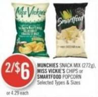 Munchies Snack Mix (272g) - Miss Vickie's Chips or Smartfood Popcorn