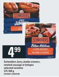 Schneiders Juicy Jumbo Wieners - Smoked Sausage Or Bologna - 375-500 g