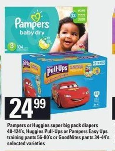 Pampers Or Huggies Super Big Pack Diapers - 48-124's - Huggies Pull-ups Or Pampers Easy Ups Training Pants - 56-80's Or Goodnites Pants - 34-44's