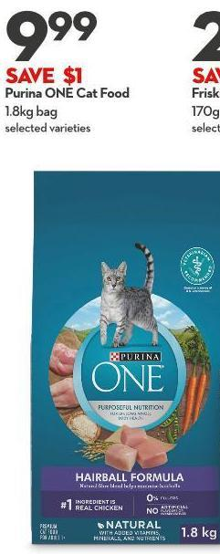 Purina One Cat Food 1.8kg Bag