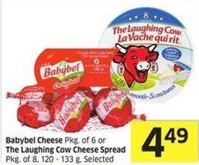 Babybel Cheese Pkg of 6 or The Laughing Cow Cheese Spread Pkg of 8 - 120 - 133 g - Selected