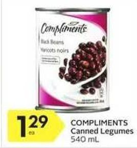 Compliments Canned Legumes 540 mL