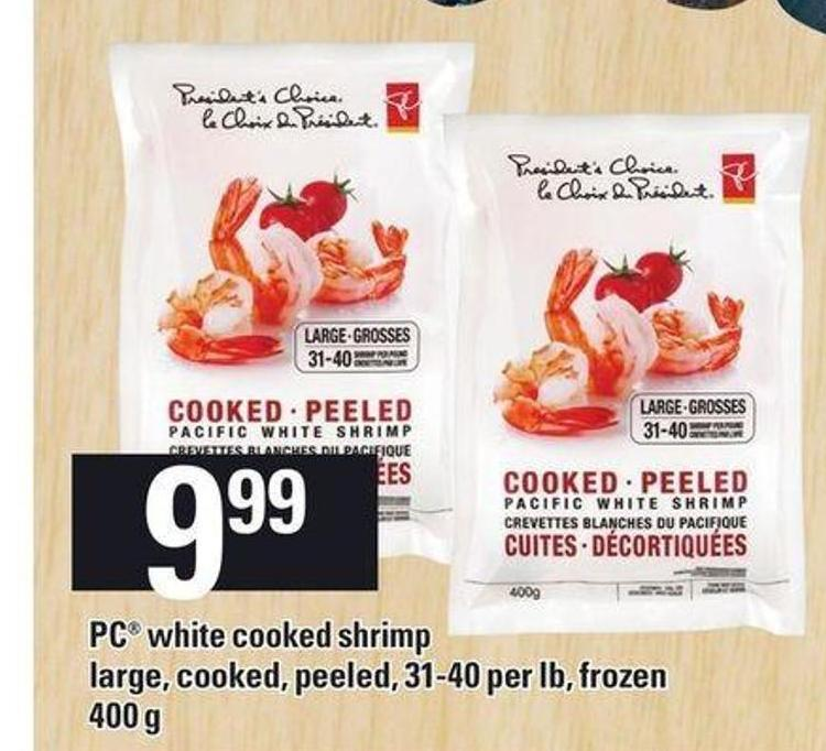 PC White Cooked Shrimp Large - Cooked - Peeled - 31-40 Per Lb - Frozen - 400 g