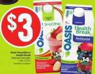 Oasis Smoothie or Health Break Selected Varieties 1.36-1.75 L