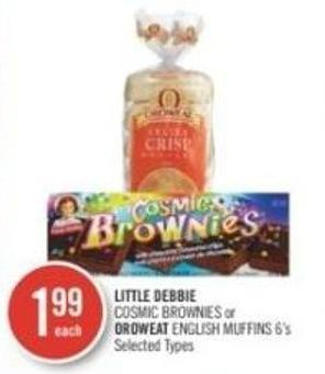 Little Debbie Cosmic Brownies or Oroweat English Muffins