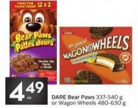 Dare Bear Paws 337-540 g or Wagon Wheels 480-630 g