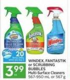 Windex - Fantastik or Scrubbing Bubbles Multi-surface Cleaners - 20 Air Miles Bonus Miles