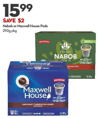 Nabob or Maxwell House Pods 292g Pkg