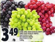 Extra Large Green Seedless Grapes Or Large Black Seedless Grapes Product Of Mexico - No. 1 Grade Red Seedless Grapes