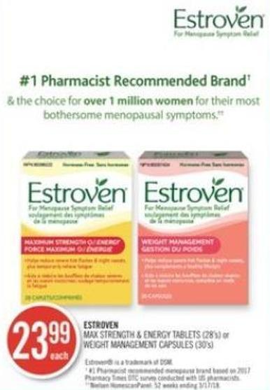 Estroven Max Strength & Energy Tablets (28's) or Weight Management Capsules (30's)