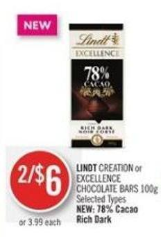 Lindt Creation or Excellence Chocolate Bars 100g