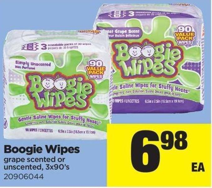 Boogie Wipes Grape Scented Or Unscented - 3x90's