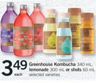 Greenhouse Kombucha 340 Ml - Lemonade 300 Ml Or Shots 60 Ml