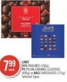 Lindt Mini Pralines (100g) - PC Pecan Caramel Clusters (400g) or Baci Chocolates (175g)
