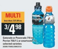 Gatorade Or Powerade 710 Ml - Perrier 750/1 L Or Smartwater 1 L