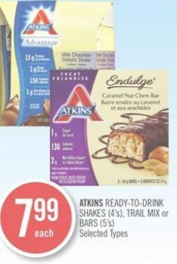 Atkins Ready-to-drink Shakes (4's) - Trail Mix or Bars (5's)
