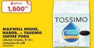 Maxwell House - Nabob - or Tassimo Coffee PODS - 8-16's