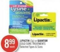 Lipactin (3g) or Quantum Cold Sore Treatments