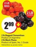 2 Lb Bagged Clementines Product of Argentina 2 Lb Black Plums Product of Spain - No. 1 Grade