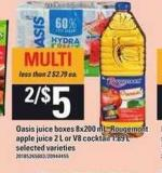 Oasis Juice Boxes - 8x200 mL - Rougemont Apple Juice - 2 L Or V8 Cocktail - 1.89 L
