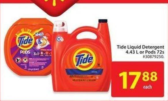 Tide Liquid Detergent 4.43 L or Pods 72s