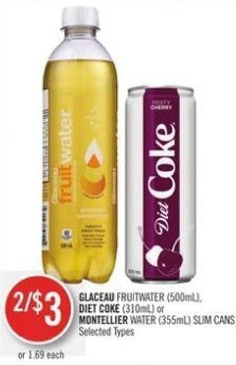 Glaceau Fruitwater (500ml) - Diet Coke (310ml) or Montellier Water (355ml) Slim Cans
