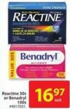 Reactine 30s or Benadryl 100s