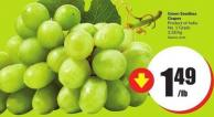 Green Seedless Grapes Product of India No. 1 Grade 3.28/kg
