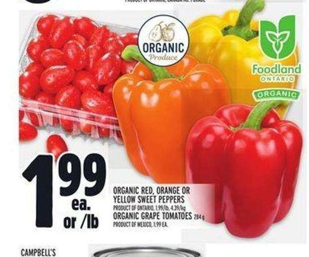 Organic Red - Orange or Yellow Sweet Peppers.organic Grape Tomatoes 284 g