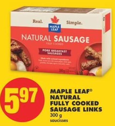 Maple Leaf Natural Fully Cooked Sausage Links - 300 G