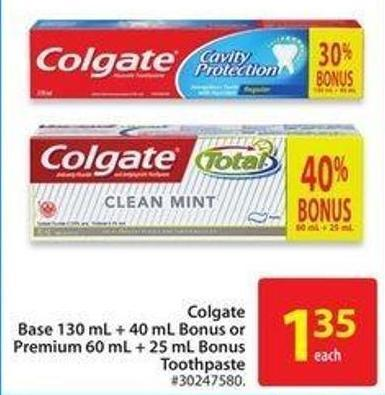 Colgate Base 130 mL + 40 mL Bonus or Premium 60 mL + 25 mL Bonus Toothpaste