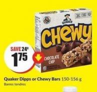 Quaker Dipps or Chewy Bars 150-156 g