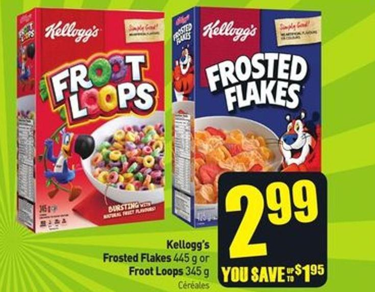 Kellogg's Frosted Flakes 445 g or Froot Loops