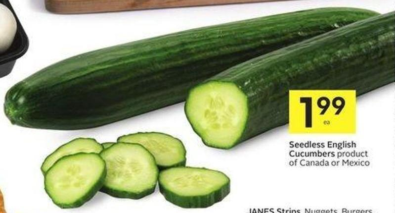 Seedless English Cucumbers Product of Canada or Mexico