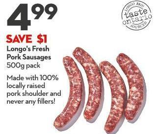 Longo's Fresh  Pork Sausages 500g Pack