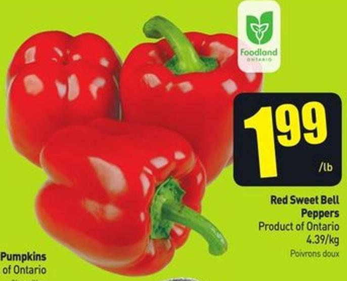 Red Sweet Bell Peppers Product of Ontario 4.39/kg