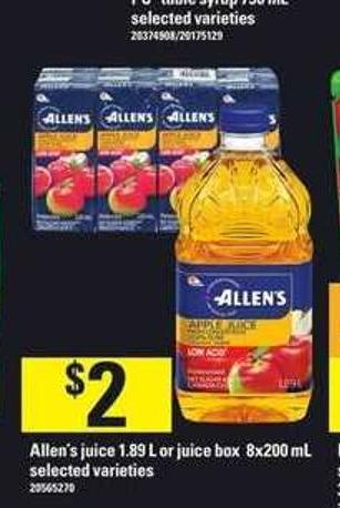 Allen's Juice - 1.89 L Or Juice Box - 8x200 Ml
