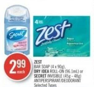 Zest Bar Soap (4 X 90g) - Dry Idea Roll-on (96.1ml) or Secret Invisible (45g - 48g) Antiperspirant/deodorant