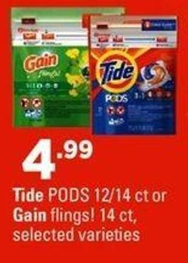 Tide PODS 12/14 Ct Or Gain Flings! 14 Ct.