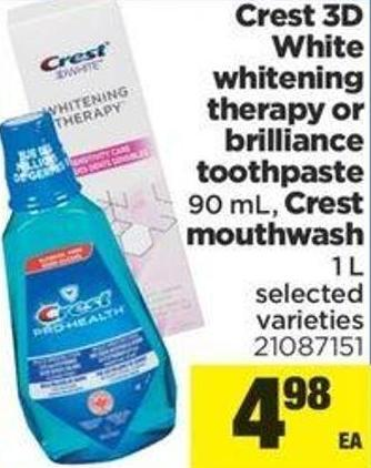 Crest 3D White Whitening Therapy Or Brilliance Toothpaste - 90 Ml - Crest Mouthwash - 1 L