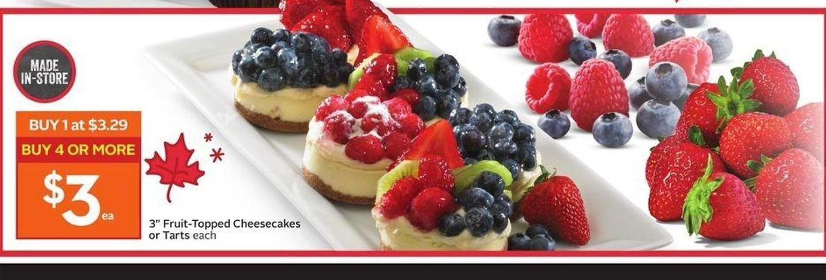3in Fruit-topped Cheesecakes or Tarts