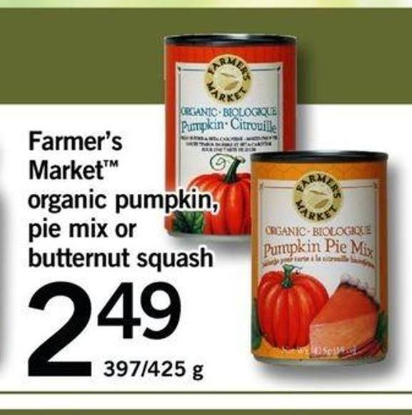Farmer's Market Organic Pumpkin - Pie Mix Or Butternut Squash - 397/425 G