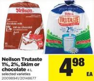 Neilson Trutaste 1% - 2% - Skim Or Chocolate - 4 L