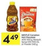 Nestlé Carnation Hot Chocolate 400-450 g - Nesquik Syrup 510-700 mL or Powder 540 g