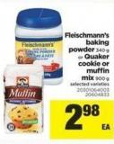 Fleischmann's Baking Powder - 340 G Or Quaker Cookie Or Muffin Mix - 900 G