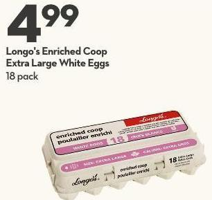 Longo's Enriched Coop  Extra Large White Eggs 18 Pack